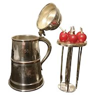 Vintage novelty cocktail companion, silver plated, cherry sticks, tankard