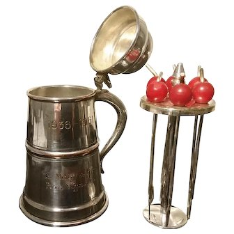 Vintage novelty cocktail companion, silver plated, cherry sticks, tankard