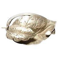 Victorian silver leaf brooch, botanical
