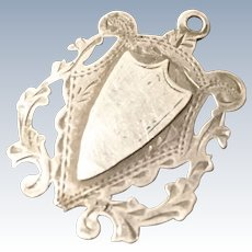 Antique sterling silver shield fob, no monograms