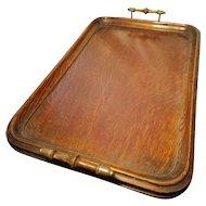 Victorian mahogany tea tray, brass handles, butlers tray