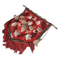 Victorian beadwork firescreen, tapestry, original fittings