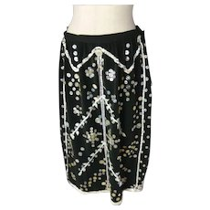 Vintage pearly queen skirt, original 1940's, pearlies skirt, black and mother of pearl
