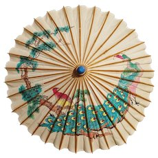 Vintage Chinese parasol, paper and bamboo, 1930's