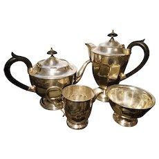 Antique silver plated tea set, 4pcs, Edwardian