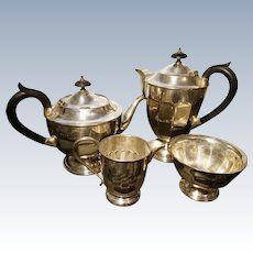Antique silver plated tea set, 4pcs, Edwardian
