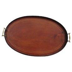 Victorian inlaid mahogany tea tray, butlers tray