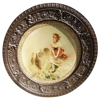 Georgian steel picture frame, toleware picture, putti and masks
