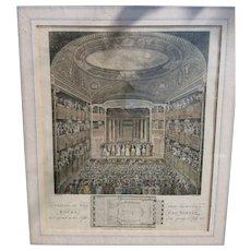 Antique copperplate Engraving, hand coloured, New Theatre, Royal Haymarket, 1823, Georgian era artwork, framed and glazed