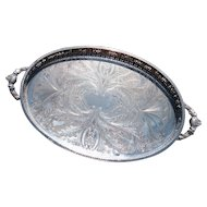 Large vintage silver plated gallery tray, chased, handled