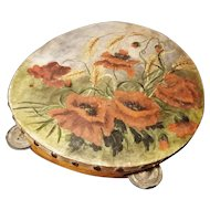 Antique WW1 tambourine, hand painted, poppies