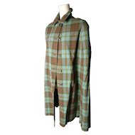 Vintage 50's cape, reversible, plaid