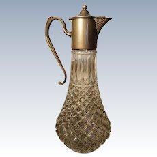 Art Deco silver plated cut glass claret jug