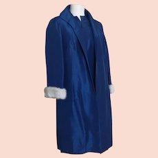 Vintage 50's pure silk bombshell dress, duster coat, mink cuffs, designer boutique