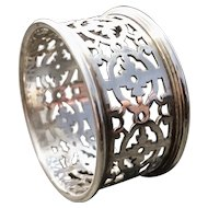 Antique silver plated napkin ring, cut out