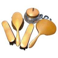 Vintage 20's vanity set, guilloche enamel and gilt, Art Deco dressing table set, boudoir