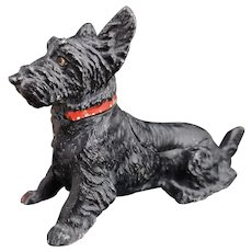 Antique terrier inkwell, cold painted spelter, Scottish Terrier