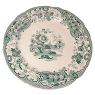 Antique transferware plate, green and white, Copeland Late Spode