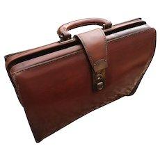 Antique English leather Gladstone bag