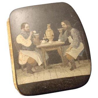 Rare antique purse, Victorian papier mache, men at tea