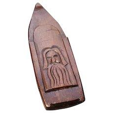 Antique folk art snuff box, fruitwood