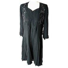 Vintage 1920's dress, black Crepe de chine, drop waisted evening dress