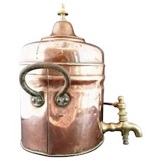 Rustic antique copper samovar, tea urn, hot water, shabby chic, 19th century