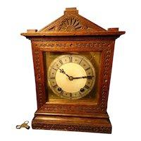 Antique oak cased mantle clock, quarter chiming, 19th century German