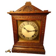 Antique oak cased mantle clock, quarter chiming, 19th century German
