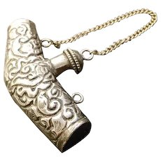 Rare antique Indian silver scent flask, scent bottle, 19th century Mughal Empire