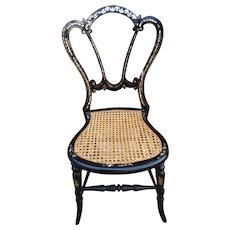 Victorian bedroom chair, mother of pearl inlay