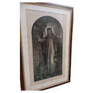 Antique Religious print, The Light of the World, Simmons after Hunt, 1860, provenance
