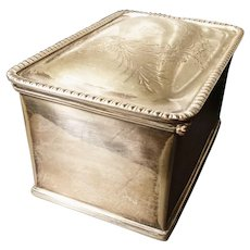 Antique silver plated tea caddy, double compartments