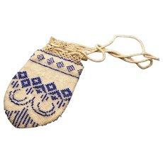 Antique Georgian purse, beadwork, reticule purse, George III, coin pouch