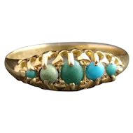 Antique turquoise ring, 18kt gold, fully hallmarked, Edwardian, original box