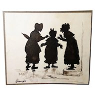Rare antique silhouette, 19th century English school, satire, gossip