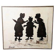 Rare antique silhouette, 19th century English school, satire, gossip