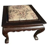 Antique footstool, Victorian embroidered drop in top