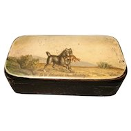Rare Georgian snuff box, hunting dog, hand painted