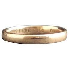 Vintage 40's wedding band, ladies 9kt yellow gold ring
