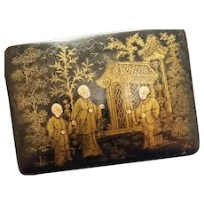 Antique papier mache box, chinoiserie, jewelry, trinkets