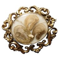 Georgian love token brooch, hairwork
