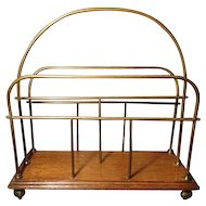 Antique oak and brass magazine rack, newspaper stand