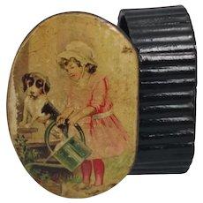 Antique papier mache snuff box, Victorian child and dog