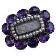 Antique mourning brooch, Georgian amethyst and seed pearl