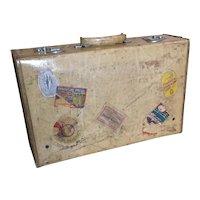 Vintage vellum leather suitcase, travel case