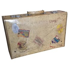 Vintage vellum leather suitcase, travel case