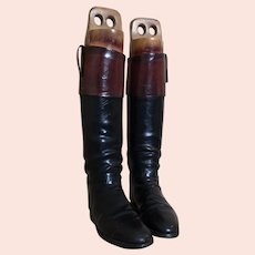 Antique leather riding boots, hunting