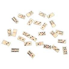 Antique miniature bone dominoes, pow