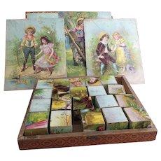 Victorian picture block game, puzzle blocks